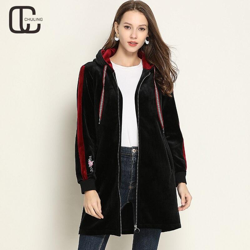 Aliexpress.com  Comprar Otoño Invierno de las mujeres con capucha de  terciopelo Casual bordado Plus tamaño abrigo negro mujer bolsillos con  cremallera ropa ... 7b80697a5bdc