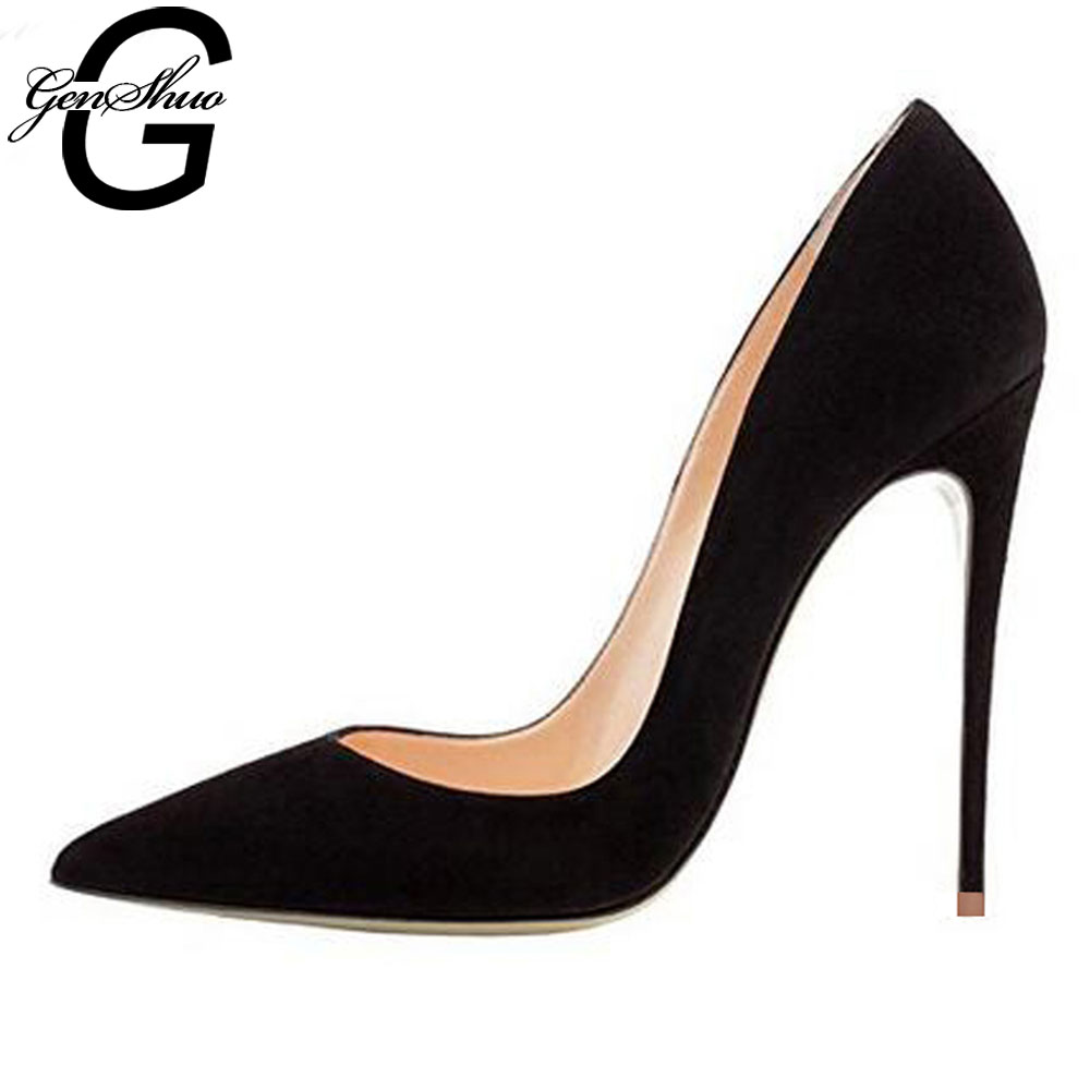 GENSHUO Pumps Women Shoes Flock Leather Slip-On Shallow Wedding Party Pointed Toe High Heels Pump Chaussures Femme Stiletto Pump