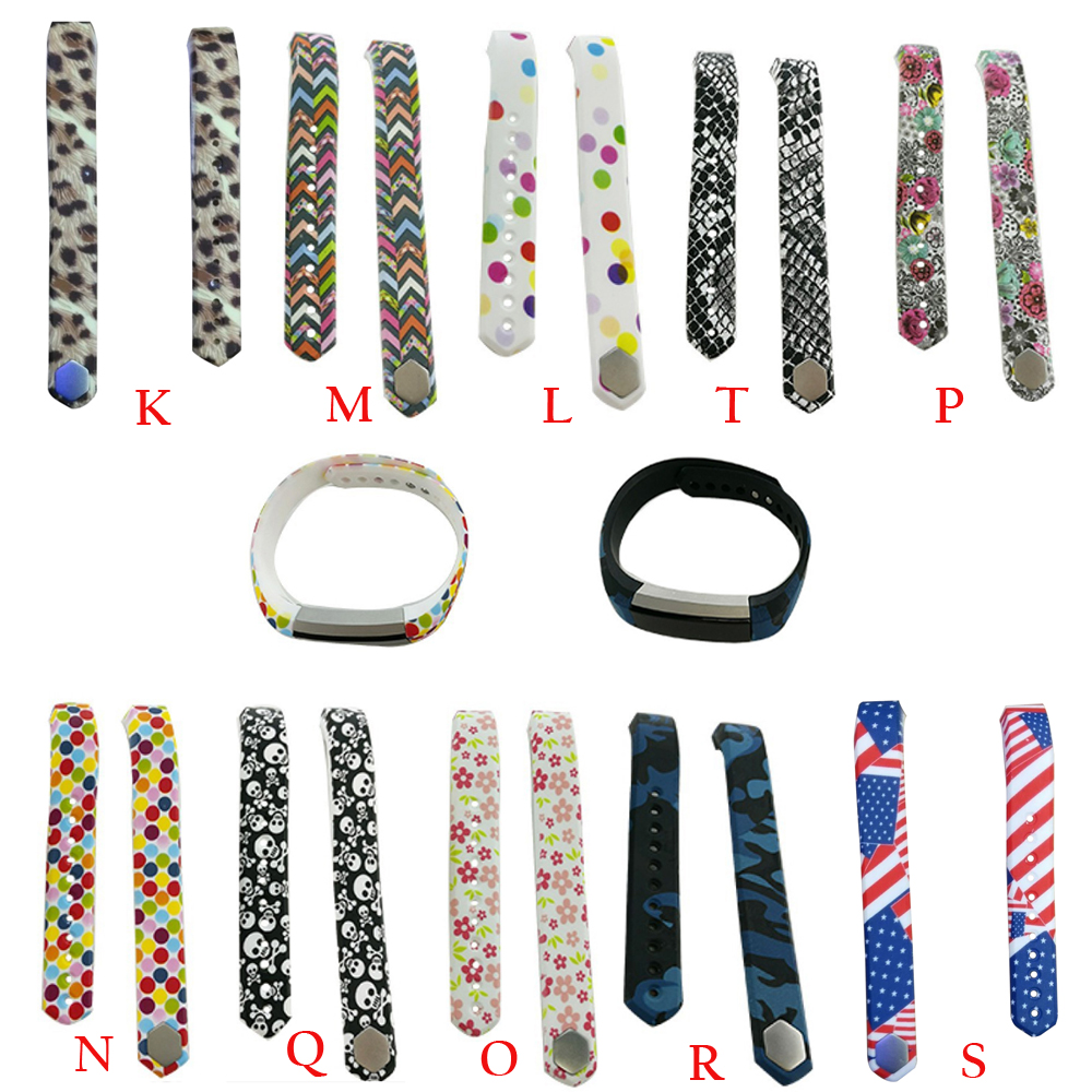 Color q online - Maha C1 Cool Printing Pattern Silicone Watch Band For Fitbit Alta Smart Watches Size S Colour Color K M L T P N Q O R S