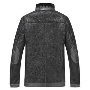 Image 2 - Gours Winter Echtem Leder Jacken für Männer Schwarz Schaffell Pilot Jacke und Mäntel Warme Doppel konfrontiert Flug Anzug Neue 4XL