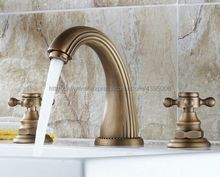 Antique Brass 3 Hole Double Cross Handle Deck Mounted Bathroom Sink Faucet Hot Cold Tap Bnf009 free shipping four sets of bathrooms ceramics brass faucet double knobs 4 hole deck mounted sink faucet hot cold mixer tap