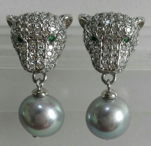 Free Shipping 9-10mm a pair of natural south seas gray pearl earrings silver leopard a pair of tahitian black pearl earrings silver