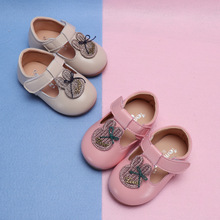 New Spring Baby Girl Lovely Rhinestone Rabbit Casual Shoes Toddler Kids Party T-Strap Flat Enfants Size 15-25