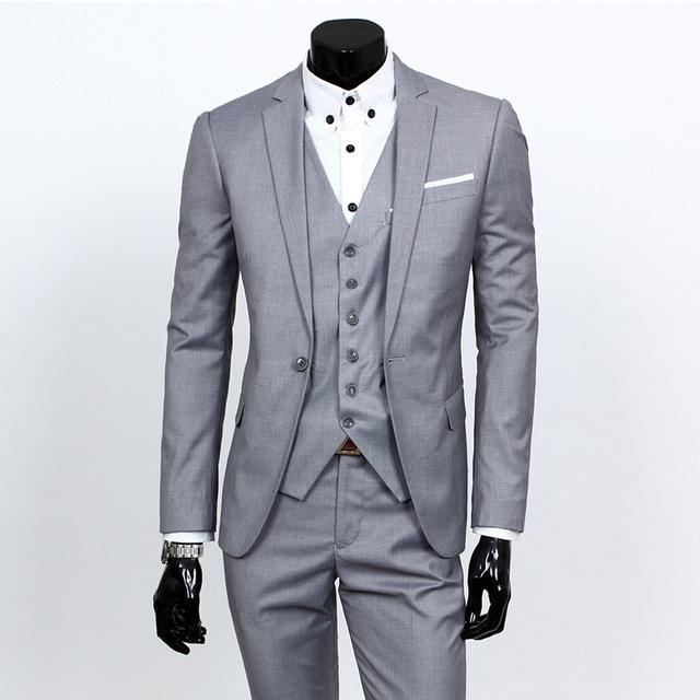 (Terno + Colete + Calça) três-terno dos homens 2016 novos homens de vestido plus size vestido formal vestido de casamento do noivo Fino código S-XXXL