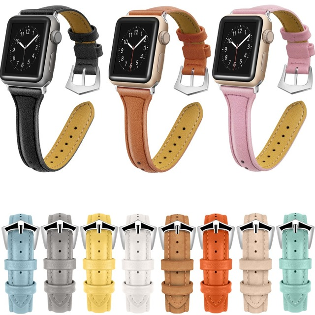 ccced8f30a6 Leather Bands for Apple Watch Band 38mm 42mm Stainless Steel Buckle Replacement  Slim Wristband Sport Strap