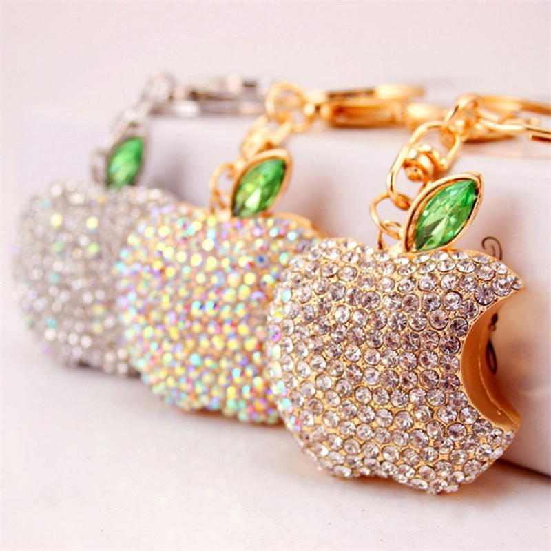 Creative Full Rhinestone Apple Keychains Fashion Key Chain Car Keyrings Pendant Alloy Key Ring Bag Charm Souvenir Gifts