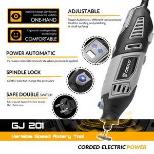 Image 2 - DEKO GJ201 LCD değişken hız döner aracı Dremel tarzı gravür elektrikli Mini matkap değirmeni w/esnek mil Set4