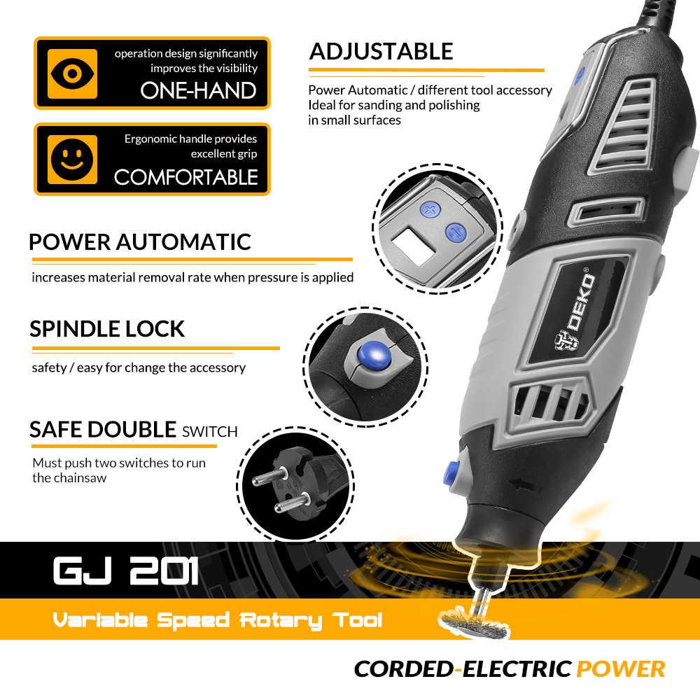 DEKO GJ201 LCD outil rotatif à vitesse Variable Dremel Style graveur électrique Mini perceuse meuleuse avec arbre Flexible Set4
