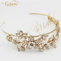 Free Shipping Double Band Pearl And Rhinestone Bridal Headband Wedding Tiara
