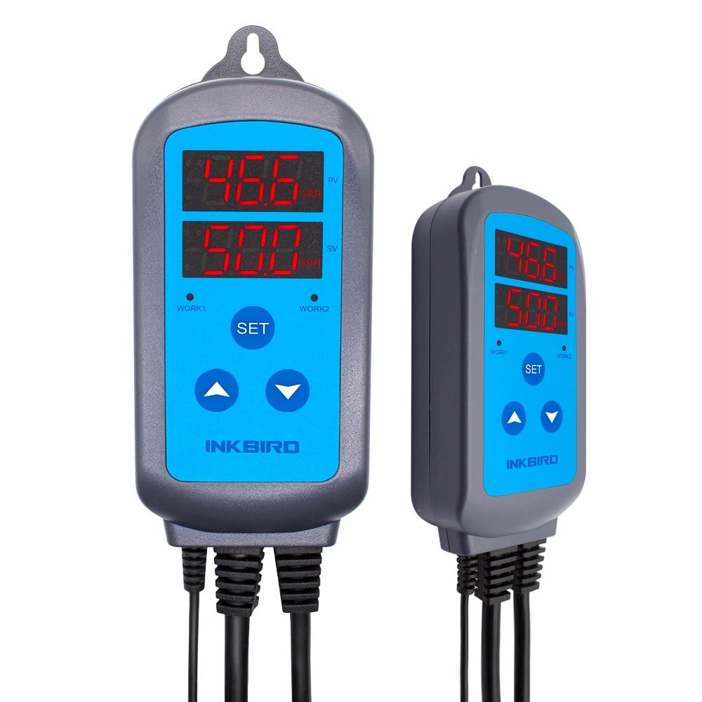 Inkbird IHC-200配線済みデジタル硬膜ステージ湿度コントローラー、加湿器とファンの除湿加湿制御