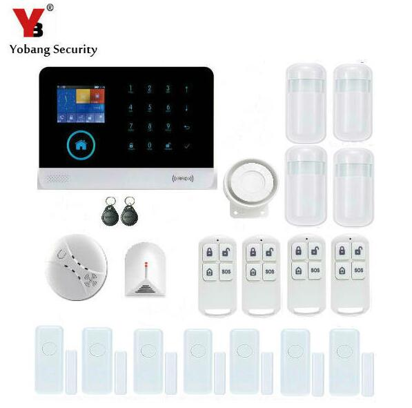Yobang Security-WIFI GSM Wireless PIR Home Security SMS Alarm System Glass Break Sensor Smoke Detector For Home Protection wireless vibration break breakage glass sensor detector 433mhz for alarm system