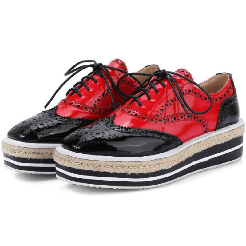 ФОТО New arrival Spring 2017 women Genuine cow leather flat heel single shoes ladies lace-up mixed color platform flats shoes casual