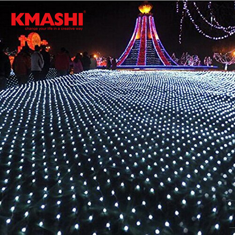Kmashi 4*6M 672LED Net Light Fairy Fishing Mesh Net String Lighting Outdoor Party Christmas Wedding Large Project AC110V-240V
