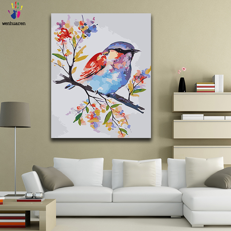 Diy paint by numbers picture paintings by numbers with kits Flowers and birds beautiful Living room decorative hanging pictures