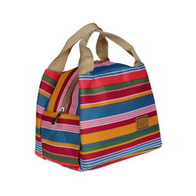 Stripe Thermal Insulated Lunch Case Tote Cooler Zipper Case Bento Lunch Pouch(China)