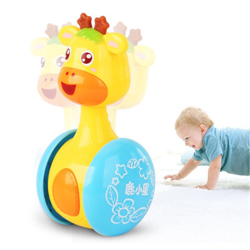 Cartoon Giraffe Tumbler Baby Toy Cute Montessori Early Education Bells Comfort Hand-Cranked Interactive Music Rattle Classic Toy