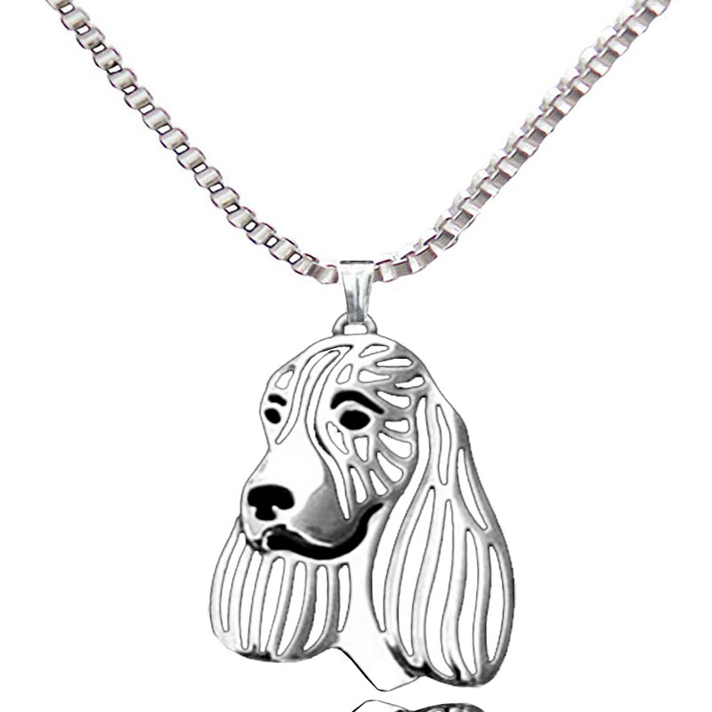English Springer Dog Pendant Silver Plated Necklaces Women For Pet Lovers Fashion Animal Jewelry & Cloth Accessories 2017
