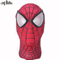 Ling Bultez High Quality Relief Webs Amazing Spiderman Face Mask Spandex Spider Man Mask For Halloween Party
