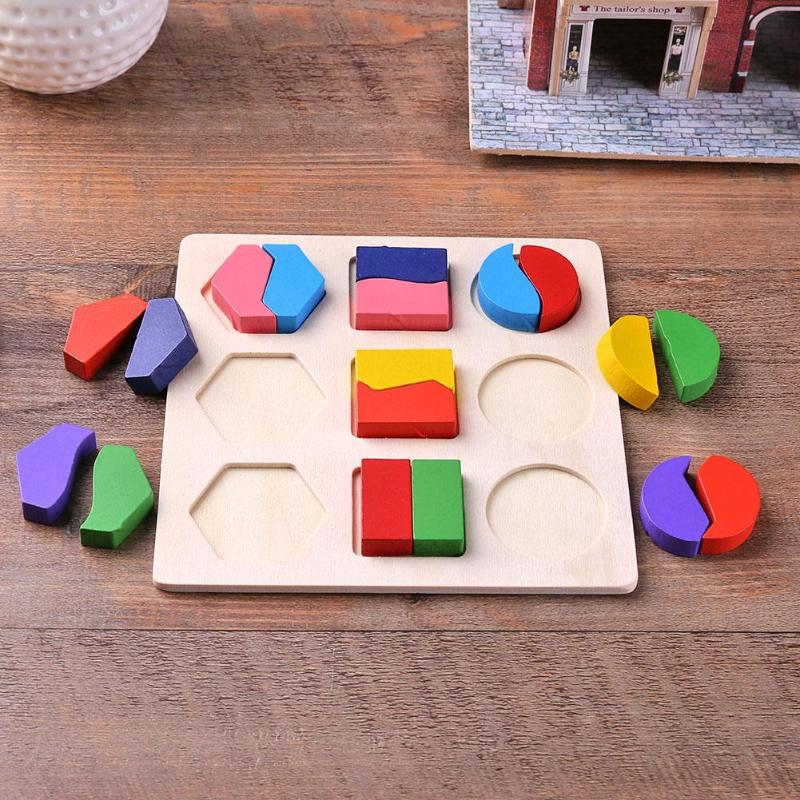 Деревянные геометрические формы головоломка Монтессори Сортировка математические кирпичи дошкольного обучения обучающая игра для малышей игрушки для детей