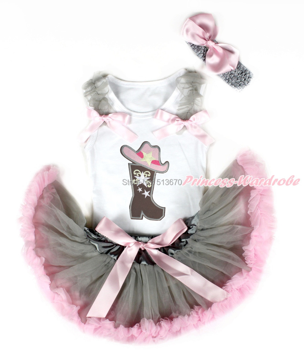 Western Cowgirl Hat Boot White Top Gray Pink Newborn Baby Girl Pettiskirt 3-12M MANG1285 цена и фото