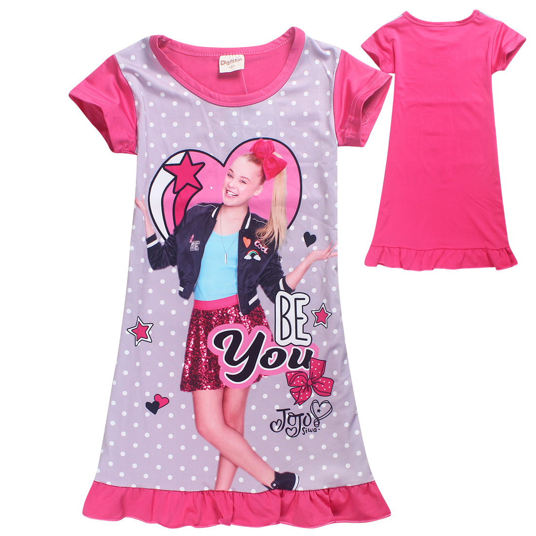 db5e3c08f 2018 Jojo Siwa Silk Dresses for Girls Princess Birthday Party Costume Lace Dress  Kids Clothes Unicorn Pajamas Children Clothing