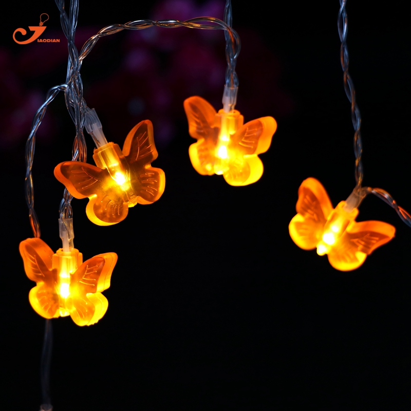 Orange Butterfly lights Birthday Fairy Garland lighting Strings Decoration 2XAA Battery Operated 10LED Christmas Decor Party