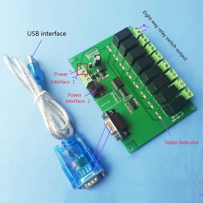 цена на 8-way RS232/serial control relay module board/computer control switch MCU/PLC