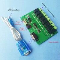 8 way RS232/serial control relay module board/computer control switch MCU/PLC