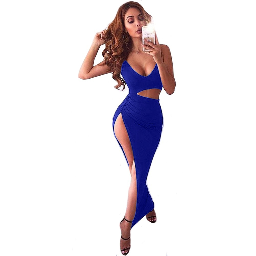 Sexy Deep V-neck Women Long Dress Strap Hollow Out Bodycon Slim Female Vstidos Solid Color High Waist Sleeveless Lady Dress