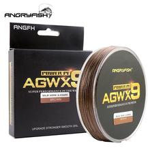 ANGRYFISH Fishing Line Diominate X9 PE 9 Strands Weaves Braided 300m/327yds Super Strong 15LB-100LB Brown