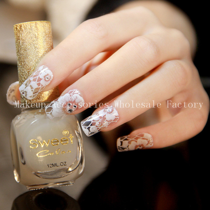⑧1000pcs Art Nail Sticker With White Flower Lace Beauty Design ...