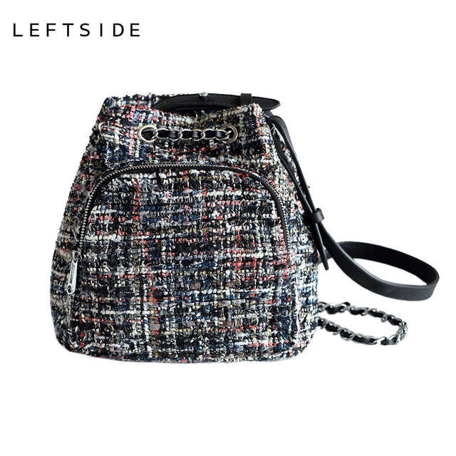 89fae8a4600e LEFTSIDE Female Wool Backpack Purse Women Woolen Backpacks Chains Back Pack  For Teenage Girls Mini Vintage