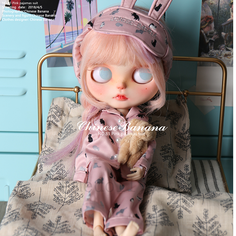 Blyth 인형 의류 액세서리에 대 한 1 pcs 고품질 귀여운 blyth 인형 핑크 고양이 잠 옷 정장 (상단 + 바지 + 눈 패치)-에서인형 액세서리부터 완구 & 취미 의  그룹 1
