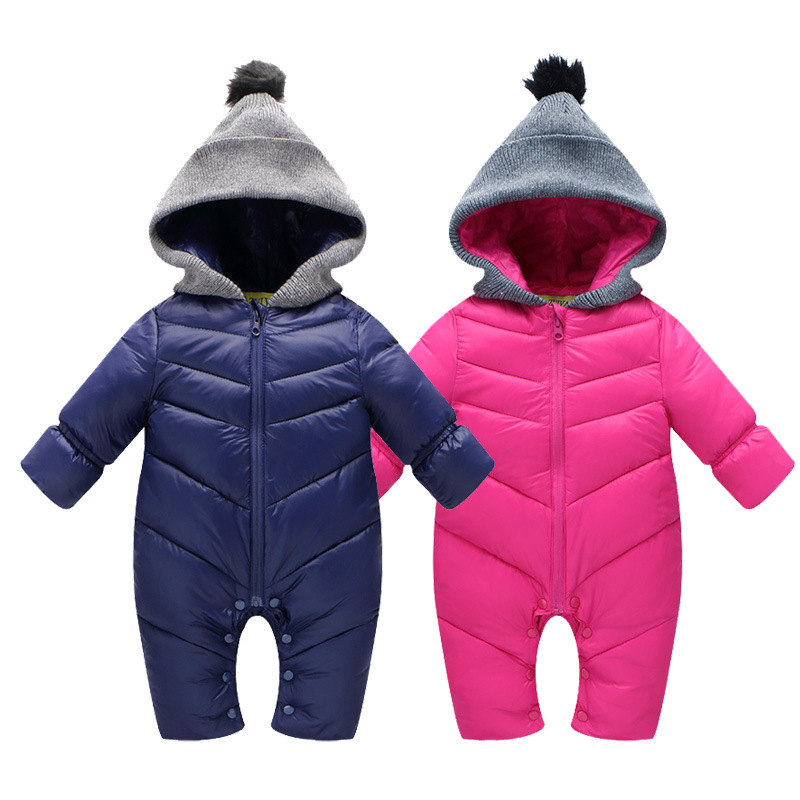 2016 Baby boys winter thick rompers baby girls snowsuit coat kids outerwear clothes children Solid jumpsuit infant costume