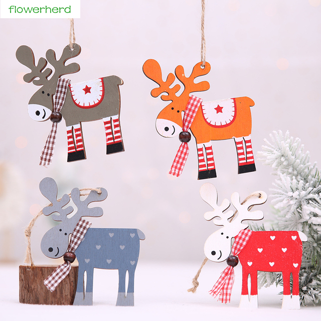 4Pcs Cute Elk Wood Christmas Tree Decoration Wooden Ornaments Door Pendant New Year Home Decor Event Party Supplies
