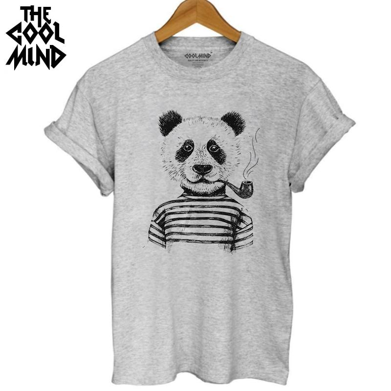 COOLMIND WQ0101B  Cotton Casual Short Sleeve Women T Shirt Casual Loose O-neck Lovely Panda Printed Women T-shirt