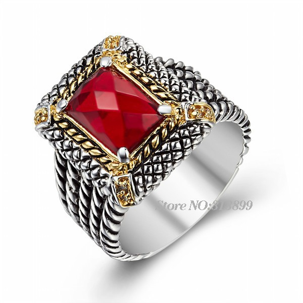 2015 New Popular Vintage Big Red Rhinestone Platinum Plated Carved Silver Party Antique Ring Fancy Jewelry Unisex - Fame (China store Fashion)