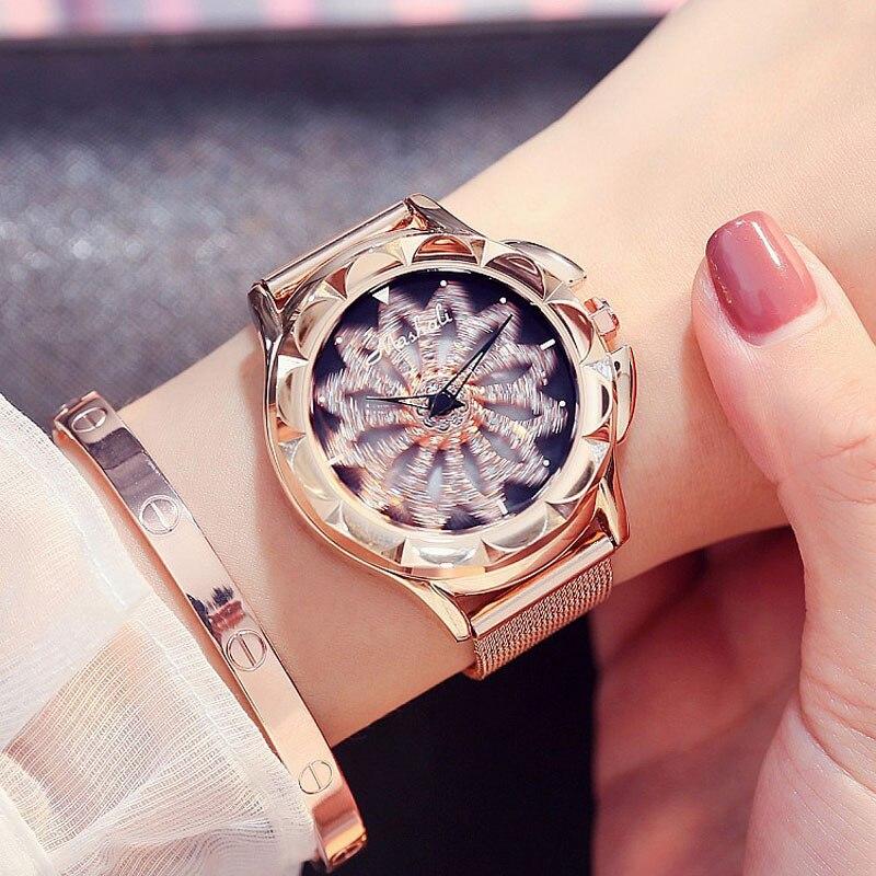 Femmes montres orologi nouvelle marque célèbre genève en acier inoxydable maille ceinture montre chiffres romains de haute qualité dames montres