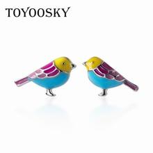 TOYOOSKY 100% 925 Sterling Silver Matte Little Bird Stud Earrings For Women Prevent Allergy Girl Fashion Jewelry Gift