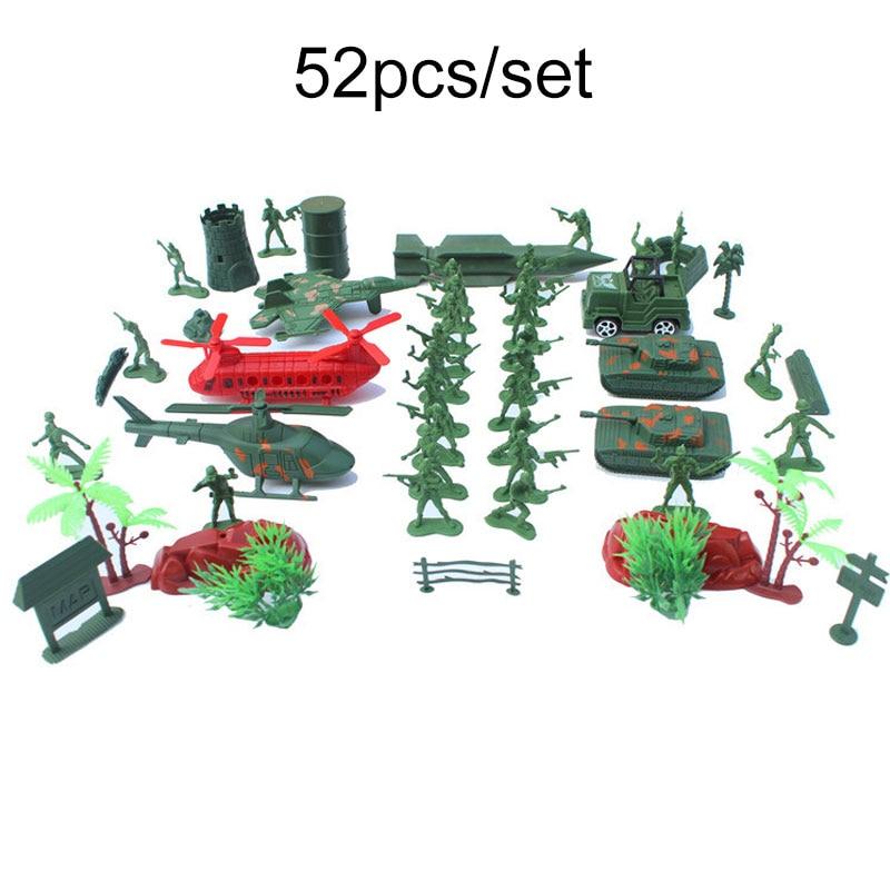 Action & Toy Figures 52pcs/set Soldier Model Sandbox Game Kids Military Array Model Toys Army Men Figures Model Action Figure Toys For Children Boys