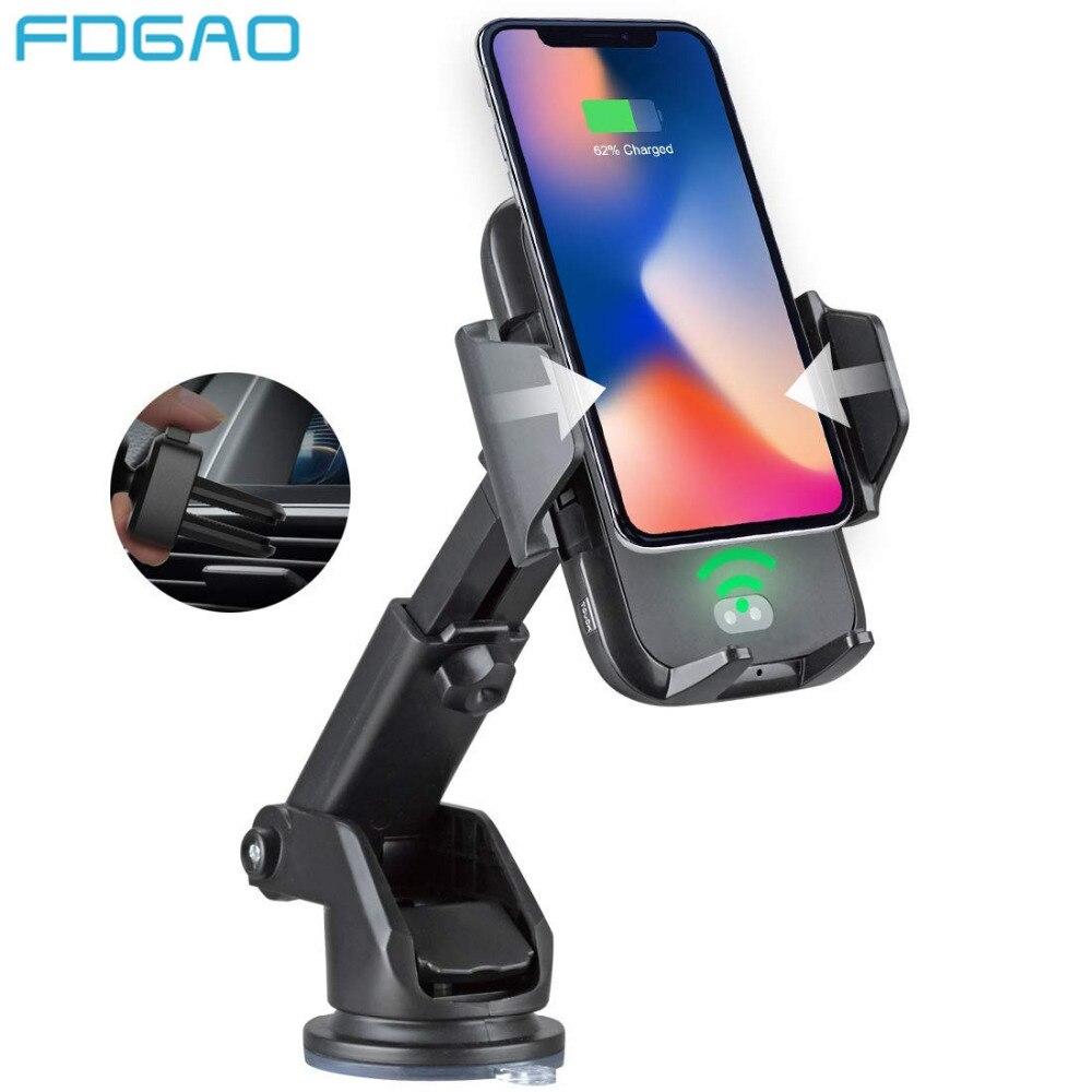 FDGAO Automatische Infrarot QI Wireless Charger Air Vent Auto Halterung 10 watt Schnelle Lade Halter für iPhone 8 X XS max XR Samsung S9 S8