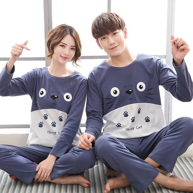 Couple Pajamas Women Winter Korean Loveliness Pure Cotton Column Bar Two- piece Long Sleeve Lovers aa24c7c8a