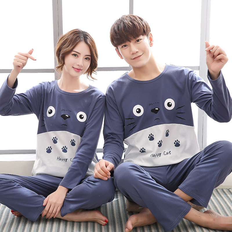 Couple   Pajamas   Women Winter Korean Loveliness Pure Cotton Column Bar Two-piece Long Sleeve Lovers   Pajama     Set   Plus Size M--XXXL