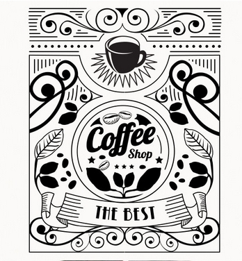 Cafe Vinyl Wandtattoo Shop Kaffeetasse Blume Design Cafe Schriftzug