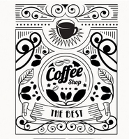Coffee Shop Vinyl Wall Decal Shop Coffee Cup Flower Design Coffee Shop Lettering PVC Wall Sticker Cafe Bar Kitchen Decoration