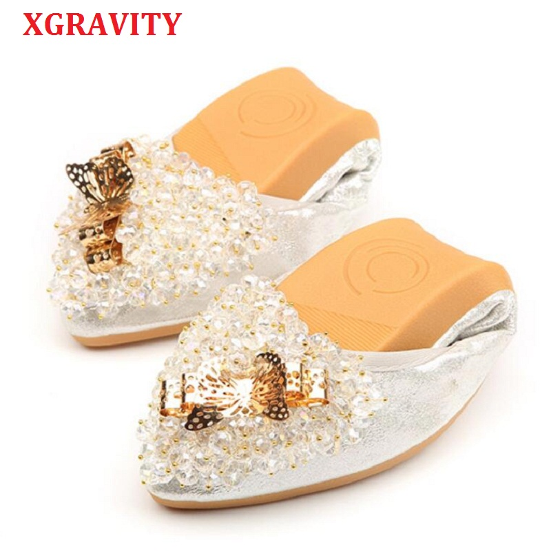 XGRAVITY 2019 New Spring Woman Sequined Flat Shoes Elegant Rhinestone Lady Fashion Foldable Flats Hot Casual Crystal Shoes A039