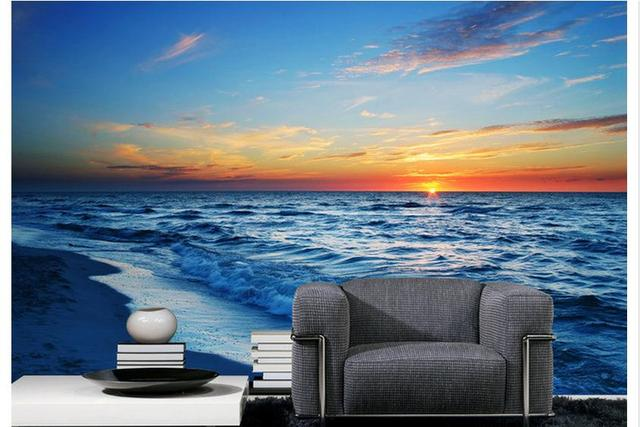 Customized Wallpaper Wall Murals Adornment Mural Sunset Beach Scenic Setting Is Large