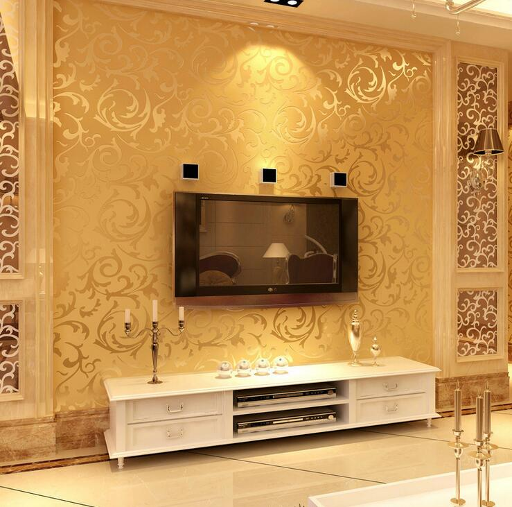 Online buy wholesale wall paper china from china wall for Gold wallpaper living room