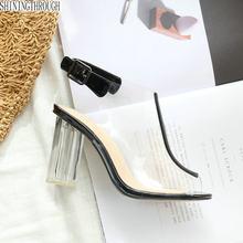 3f73f8e970 Celebridade Preto Ver Através Mulheres sandálias sapatos peep Toe Saltos  Bloco De Plástico Transparente de PVC Claro Sapatos De .
