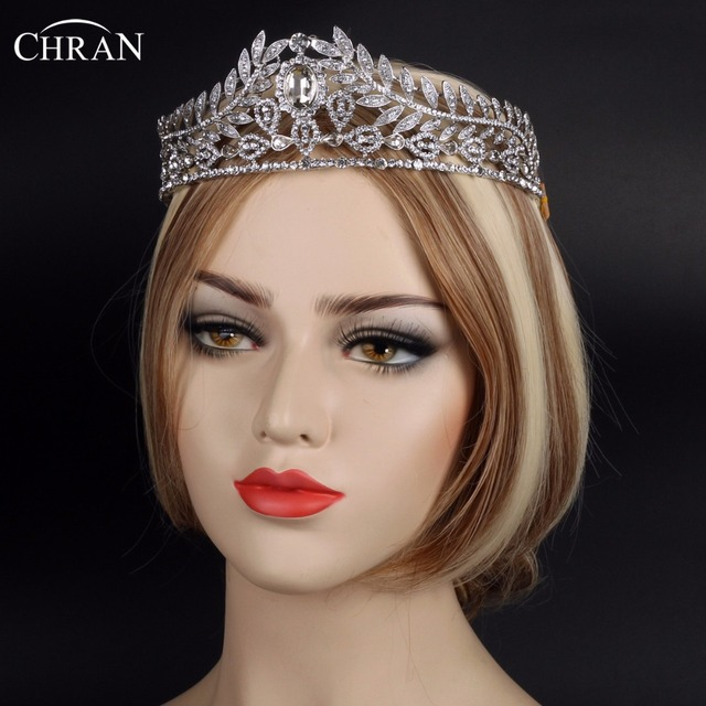 Chran New Leaf Crown Austrian Rhinestone Tiaras Bridal Hairwear Pageant Vine Wedding Headband Hair Accessories Jewelry CRT709
